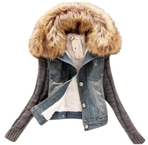Wish Faux Fur Womens Jean Jacket