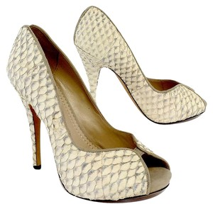 Jean-Michel Cazabat Ivory Leather Snakeskin Pumps