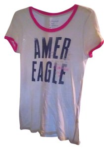 American Eagle Outfitters T Shirt White/navy/salmon pink