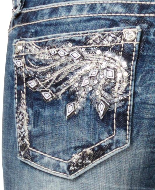 Item - Denim Distressed Feathered Wing Embellished Mid-rise Cuffed Capri/Cropped Jeans Size 29 (6, M)