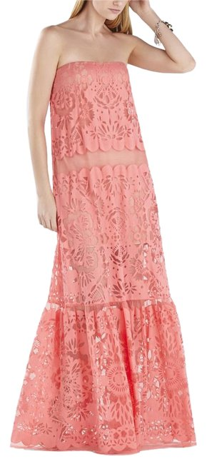 Item - Pink Coral Melannie Strapless Bottom-ruffle Gown Pdj60d45-6r3 Long Night Out Dress Size 6 (S)