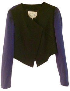 Rachel Roy Colorblock Cropped Asymmetric Zip Black & Purple Blazer