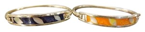 Inlay Bracelets 2 Lovely Bracelets,Bright Blue and Orange Colors with Mother of Pearl Inlay