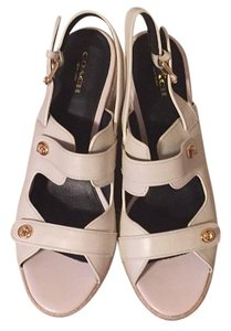 Coach Espadrille Pebble Grain White/Chalk Wedges