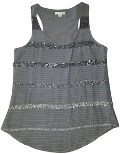 American Eagle Outfitters Sequin Racer-back Top Gray