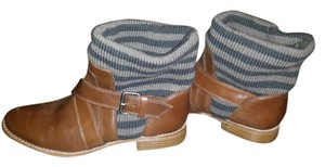 Splendid Knit Faux Leather brown & gray Boots