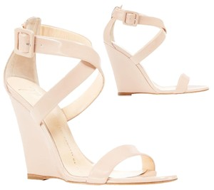 Giuseppe Zanotti Patent Leather Buckle Nude Wedges