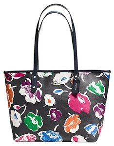Coach Zip Top Floral Black Leather Tote in multi