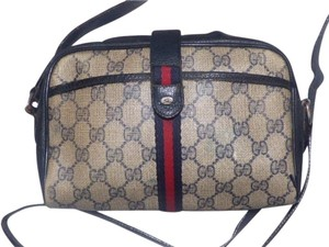Gucci Popular Style Accessory Col Print Navy/red Stripe Snap Front Pocket/top Zip Cross Body Bag