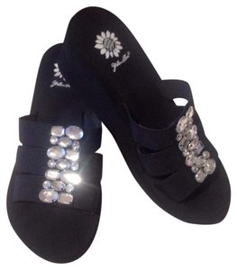 Yellow Box Wedge Rhinestones Black Sandals