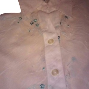 Dress Barn Sheer Top White and Teal