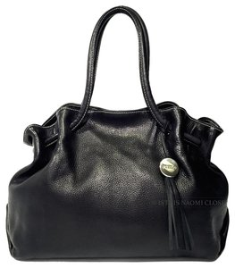 Furla Black Weaved Leahter Business Strap Hobo Bag