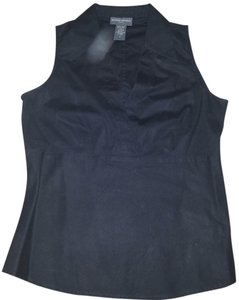 Banana Republic Sleeveless V Neck Cotton Top Black