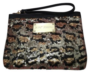 Betsey Johnson Wristlet in Black/gold combo