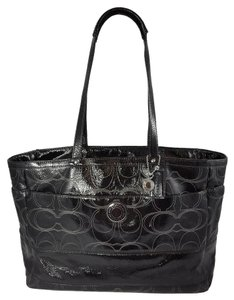 Coach Weekender Patent Leather Xl Black Diaper Bag