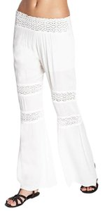 Free People White Crochet Summer Wide Leg Pants Lace Smocked Gauze Linen