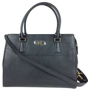Salvatore Ferragamo Satchel Work Signature Leather Tote in Black