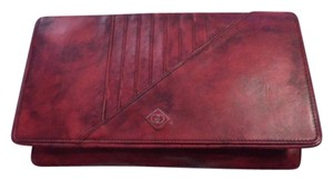 Gucci Mint Vintage Two-way Style Rare 'diamante' Line red leather with black marbling Clutch