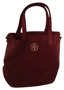Tory Burch Leather Mini Bucket Tote in Red