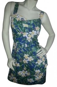 Paradise Found short dress greens/blues/yellow/white Hawaiian print on Tradesy