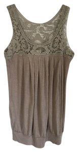 Forever 21 Lace Pleated Summer Top tan/beige