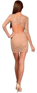 Gilber Gilmore Lace Nude Backless Dress