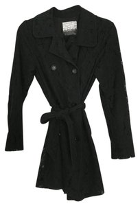 Kensie Drape Draped Lace Trench Trench Coat