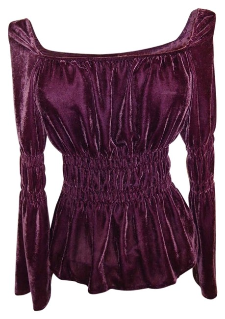 Newport News Size 14 Peasant Stretch Velvet Retro Top Eggplant