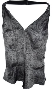 Guess Snake Halter Low Back Peplum Top Gray and Black