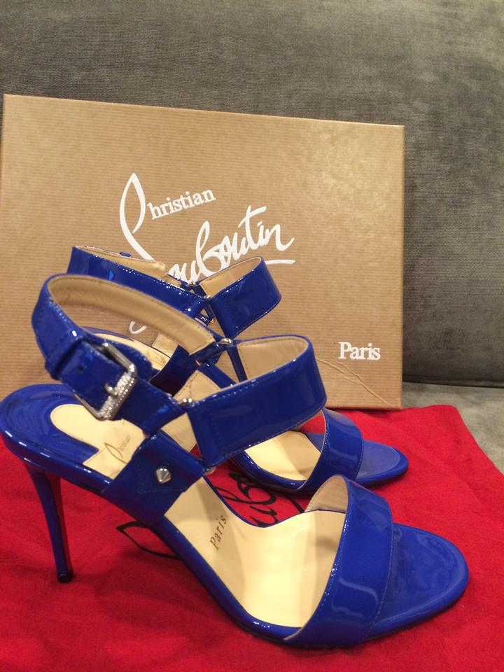 christian louboutin patent leather strappy pumps
