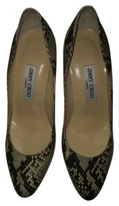 Jimmy Choo Snake Print Brown and Cream Pumps