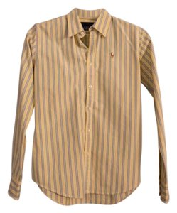 Ralph Lauren Oxford Polo Striped Pink Button Down Shirt Yellow