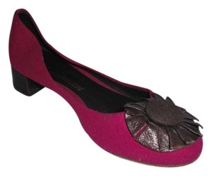 Delman Wool Brown Leather Magenta Flats