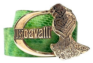 Just Cavalli Green Genuine Leather Reptile Style