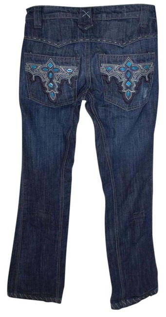 Item - With Teal Embellishment Straight Leg Jeans Size 25 (2, XS)