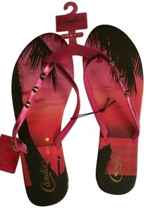 Candie's Beach Summer Swimming Pool Print Palms Red & Gold Sandals