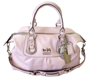 Coach Leather Satchel in pink/pale lilac