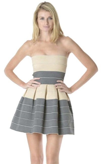 Item - Black Beige Grey Bandage Petticoat Petti Pleated Fit Flare Skater A-line Strapless Mini Contrast Colorblock Above Knee Night Out Dress Size 8 (M)