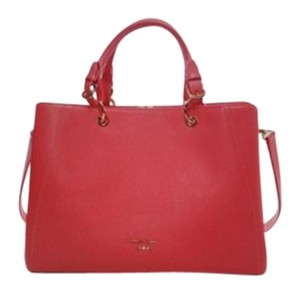 Samantha Thavasa Leather Gold Hardware Tote in Red