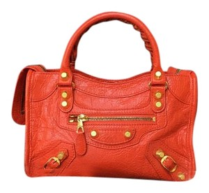 Balenciaga Motocross Mini Classic City Tote Satchel in red
