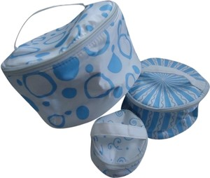 Other 3 Piece Light Blue & White Round Cosmetic Bag Set
