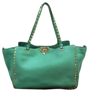 Valentino Leather Rockstud Tote Satchel in Turquoise