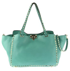 Valentino Leather Rockstud Tote Shoulder Satchel in Turquoise