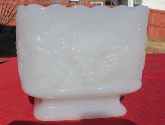 White Anchor Hocking-vintage Pattern Milkglass Square Planter Reception Decorations