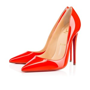 Christian Louboutin Capucine Patent Leather So Kate Point-toe Heels Red Orange Pumps