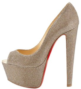 Christian Louboutin Red Sole Altavera Gold glitter Platforms