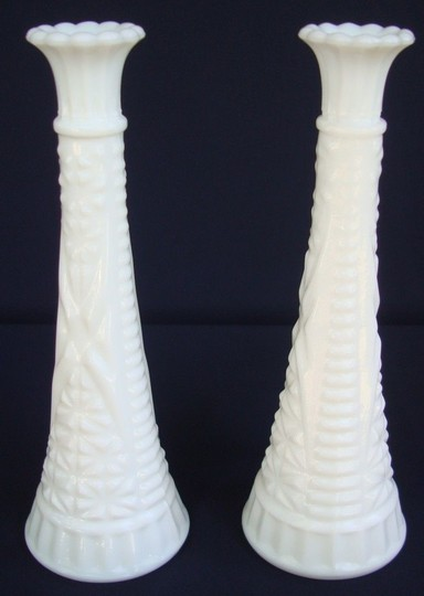 "2 Milkglass Bud Vases ""stars & Bars"" By Anchor Hocking Glass 9"" Tall"