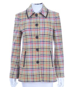 Coach Multi Color Check Wool Tweed Coat