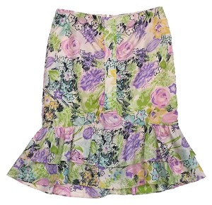 Nanette Lepore Multi Color Flora Print Silk Skirt