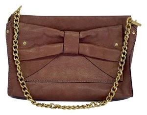 Nanette Lepore Mauve Leather Bow Shoulder Bag